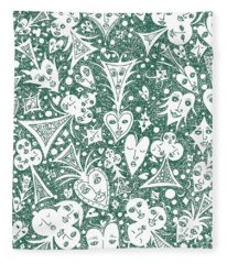 Playing Card Symbols With Faces In Hunter Green Fleece Blanket