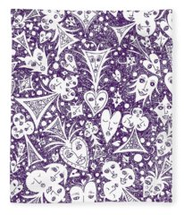 Playing Card Symbols With Faces In Purple Fleece Blanket