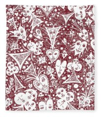 Playing Card Symbols With Faces In Red Fleece Blanket