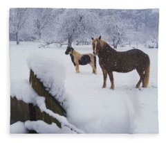Playing In The Snow Fleece Blanket