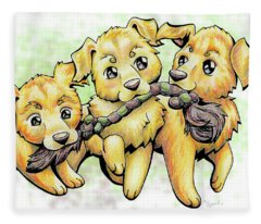 Playtime Golden Retriever Fleece Blanket
