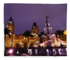 Plaza De Armas At Sunset Lima Peru Fleece Blanket