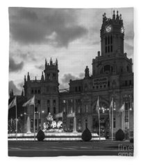 Plaza De Cibeles Fountain Madrid Spain Fleece Blanket