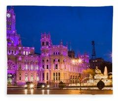Plaza De Cibeles In Madrid Fleece Blanket