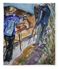 Plein Air Painters - Original Watercolor Fleece Blanket
