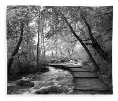 Plitvice In Black And White Fleece Blanket