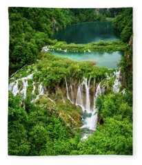 Plitvice Lakes National Park - A Heavenly Crystal Clear Waterfall Vista, Croatia Fleece Blanket
