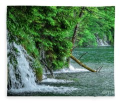 Plitvice Lakes National Park, Croatia - The Intersection Of Upper And Lower Lakes Fleece Blanket