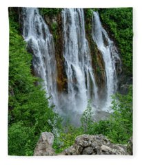 Plitvice Lakes Waterfall - A Balkan Wonder In Croatia Fleece Blanket