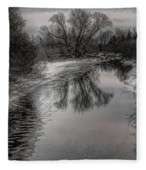 Plover River Black And White Winter Reflections Fleece Blanket