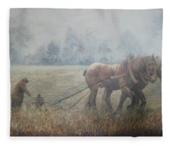 Plowing It The Old Way Fleece Blanket