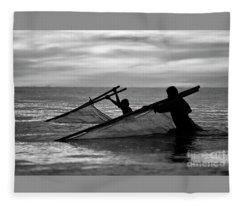 Plowing The Sea - Thailand Fleece Blanket