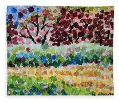 Plum Trees In Spring Fleece Blanket