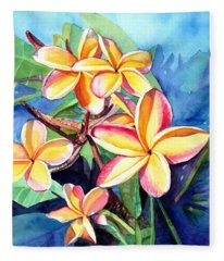 Plumeria Fever Fleece Blanket