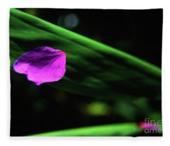 Plumeria Flower Petal On Plumeria Leaf- Kauai- Hawaii Fleece Blanket