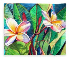 Plumeria Garden Fleece Blanket