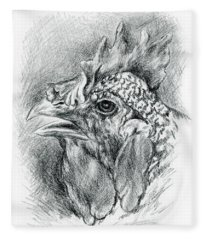 Plymouth Barred Rock Hen In Charcoal Fleece Blanket