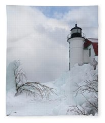 Point Betsie Light Fleece Blanket