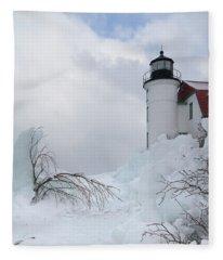 Point Betsie Light Fleece Blanket