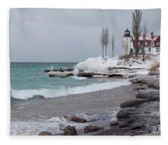 Winter At Point Betsie Lighthouse Fleece Blanket