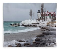 Winter At Point Betsie Lighthouse Fleece Blanket