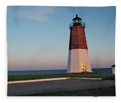 Point Judith Lighthouse Rhode Island Fleece Blanket