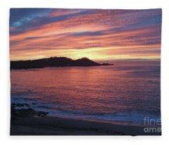 Point Lobos Red Sunset Fleece Blanket