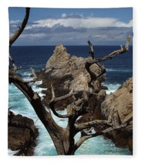 Point Lobos Rocks And Branches Fleece Blanket