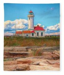 Point Wilson Lighthouse And Driftwood Fleece Blanket