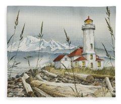 Point Wilson Lighthouse Fleece Blanket