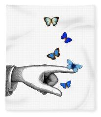 Pointing Finger With Blue Butterflies Fleece Blanket