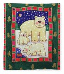 Polar Bear And Cubs Fleece Blanket