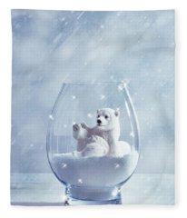 Polar Bear In Snow Globe Fleece Blanket