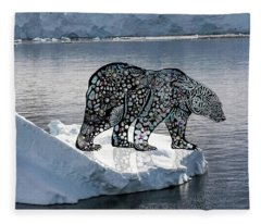 Polar Bear On An Ice Flow Fleece Blanket