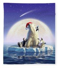 Polar Season Greetings Fleece Blanket