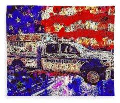 Police Truck Fleece Blanket