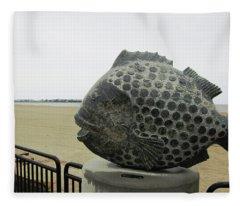Polka Dotted Fish Sculpture Fleece Blanket