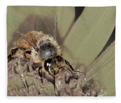 Pollinating Bee Fleece Blanket