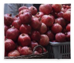 Pomegranates At Jerusalem's Old City Market Fleece Blanket
