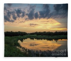 Pond And Sunset Fleece Blanket