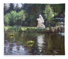 Pond At Our Lady Of Fatima Lewiston Fleece Blanket
