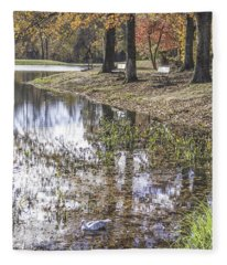 Pond Bench Ponderings Fleece Blanket