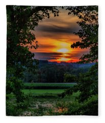 Pond Sunset  Fleece Blanket