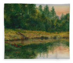Pond With Spider Lilies Fleece Blanket