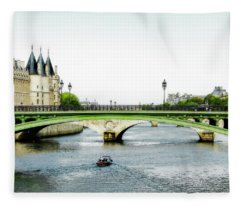 Pont Au Change Over The Seine River In Paris Fleece Blanket