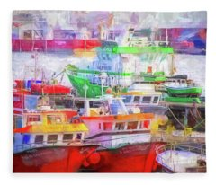 Ponta Delgada Boats Fleece Blanket
