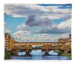 Ponte Vecchio Clouds Fleece Blanket