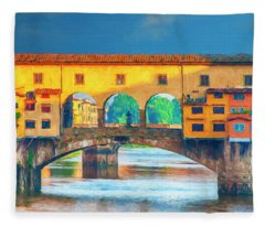 Ponte Vecchio Impression Fleece Blanket