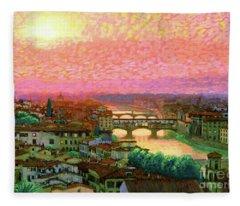 Ponte Vecchio Sunset Florence Fleece Blanket