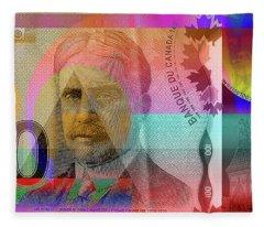 Pop-art Colorized New One Hundred Canadian Dollar Bill Fleece Blanket